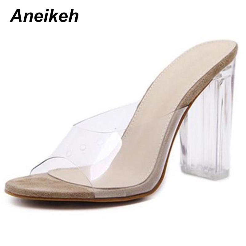 Aneikeh New Women Sandals PVC Crystal Heel Transparent Women Sexy Clear High Heels Summer Sandals Pumps Shoes Size 41  42