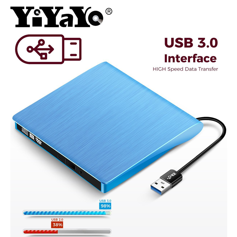YiYaYo USB 3.0 External Drive DVD-ROM CD-RW DVD-RW Burner Player Portable Reader Slim for Windows7/8/10 Laptop(China)