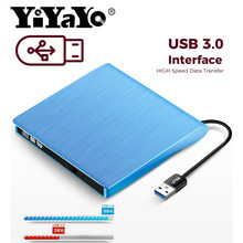 YiYaYo USB 3,0 Externe Stick DVD-ROM CD-RW DVD-RW Brenner Player Tragbare Reader Schlank für Windows7/8/10 Laptop(China)