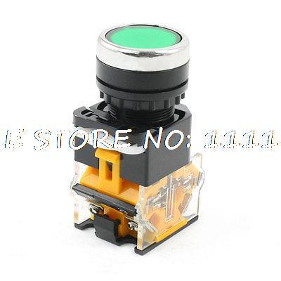 Industry NO NC Momentary Action Green Push Button Switch AC 660V 10A DPST 10a 660 в 4 терминал фиксации 2 позиция nc dpst поворотный переключатель ваттной 2 ключ
