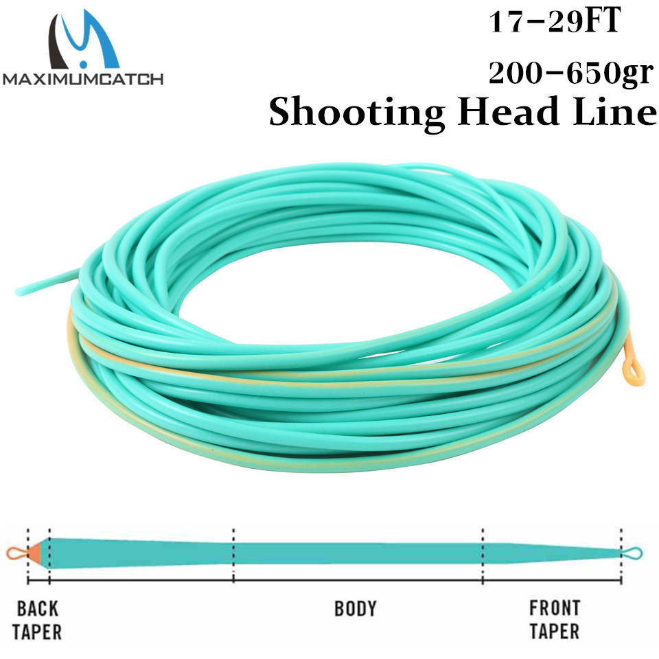 Maximumcatch Fly-Fishing-Line Floating Shooting-Head Skagit with 2-Welded Loops 17-29ft/200-650gr/Double-color/Floating