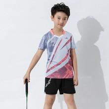 Новые интересные мальчики наборы для бадминтона, быстросохнущая детская теннис костюм, детский Бадминтон рубашка, настольный теннис футболки Серый 2XS-3XL