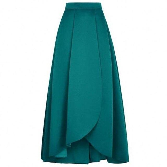 6a4bb1e65 € 34.16 10% de DESCUENTO Elegante verde oscuro falda cremallera cintura una  línea de piso longitud largo Maxi falda personalizado plisado pétalo ...