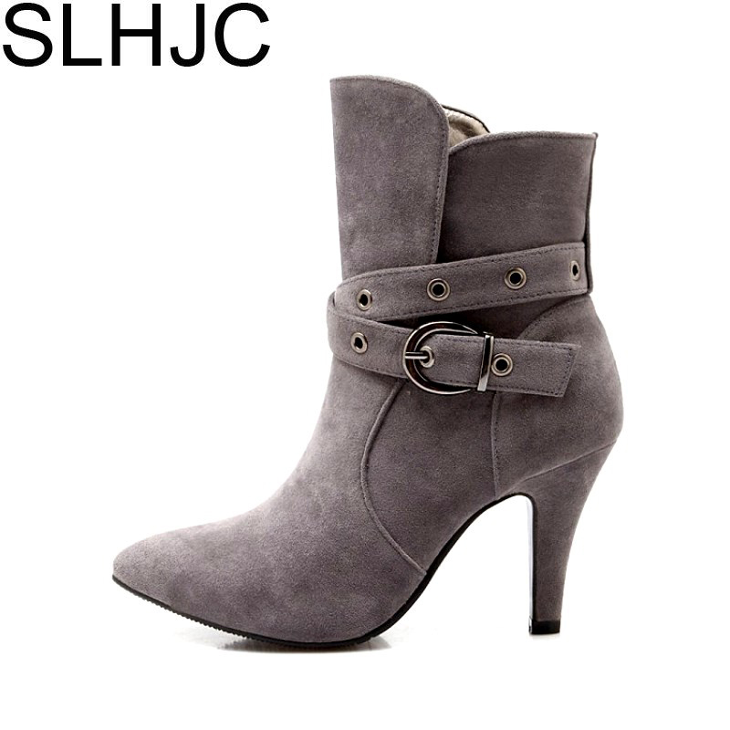 SLHJC High Stiletto Heels Boots Shoes Women Autumn Winter Pointed Toe Fashion Lady Mid Calf Suede Leather Pumps Shoes 7 CM Heel