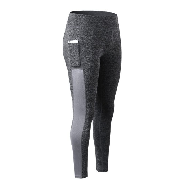 Women Fitness Quick Dry Legging With Pockets Stitching Mesh Trousers Femme Long Pants Legging