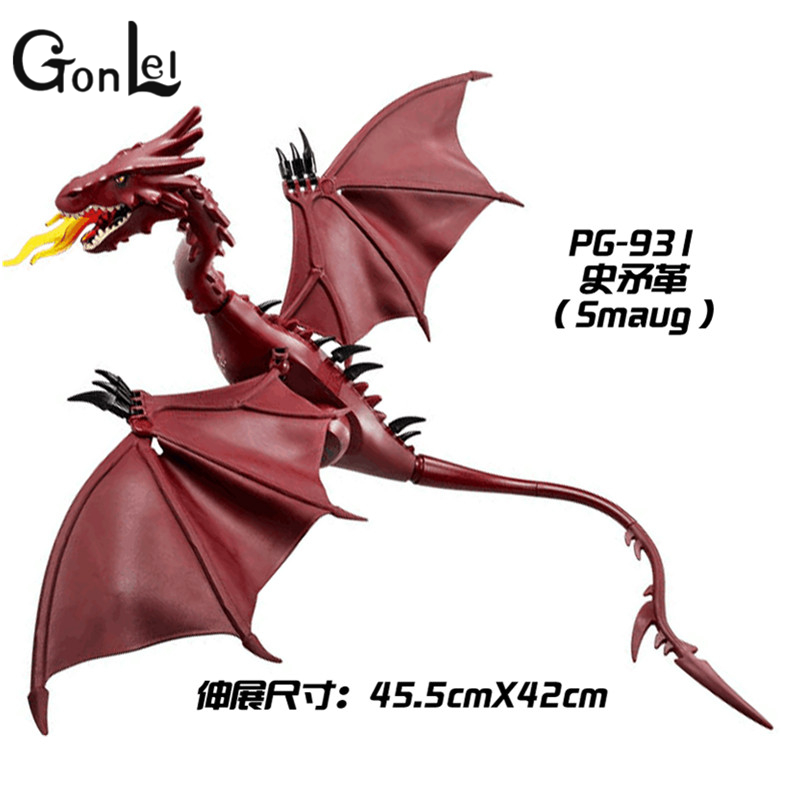 GonLeI The Lord of the Rings Hobbit THE LONELY MOUNTAIN Desolation of SMAUG Dragon Assemble Blocks Kids Toys Gifts new women elegant white dress up clothes lord of the rings the hobbit lady galadriel cosplay costume fariy dress customized