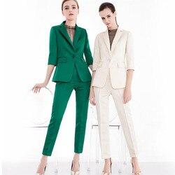 Verde Vestito con pantaloni Donne Casual Ufficio Vestiti di Affari di Usura del Lavoro Formale Set