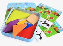 Demir kutu ahşap yap boz klasik geometrik şekil Tangram ahşap Puzzle çocuk Tangram bulmaca oyuncak eğitici hediye DS9