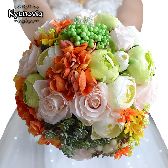 Kyunovia Colorful Wedding Bouquet Orted Roses Camellias Accessories Flowers Bridal Fe14