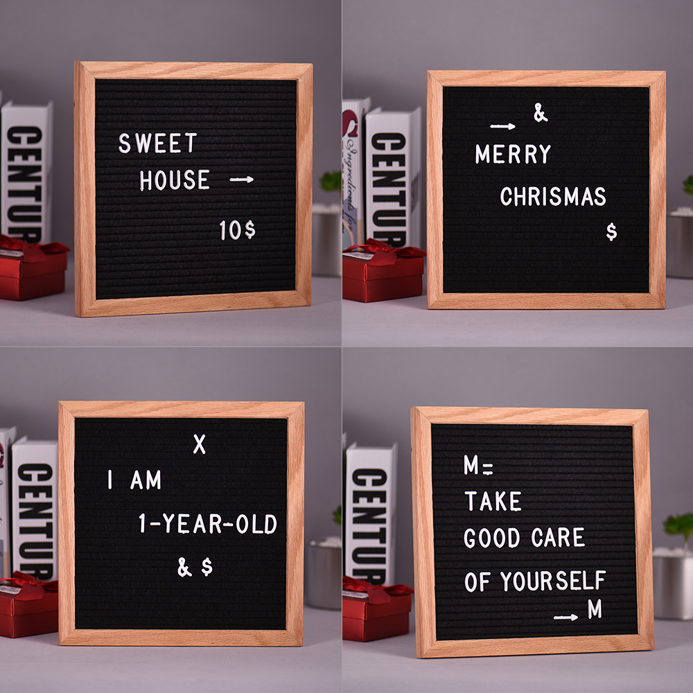 Home Decor Board Oak Frame White Letters Symbols Numbers Characters Bag Office Decor Felt Letter Board Sign Message Dropshipping