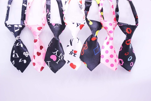 50pcslot valentines day pet dog bow ties mix 7 colors adjustable pet dog bow