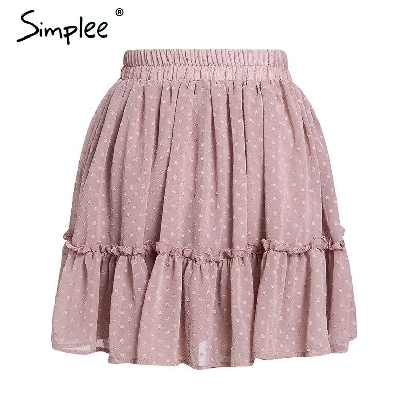 Simplee Casual polka dot mini women skirt High waist A line korean tassel pink summer skirt Sexy ruffle beach female skirts 19 14