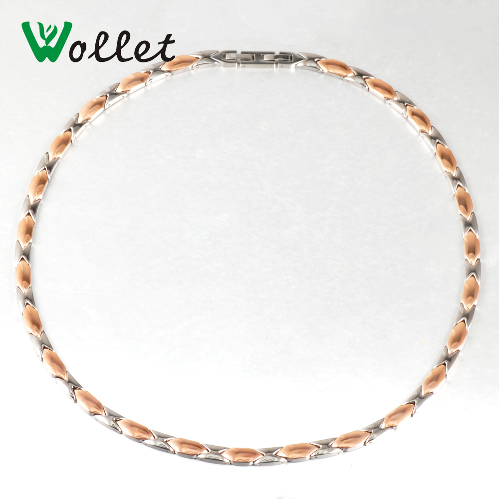 Wollet 54cm Healing Energy Rose Gold C Infrared Tourmaline Germanium Negative Ion Magnetic Pure Titanium Necklace for Women