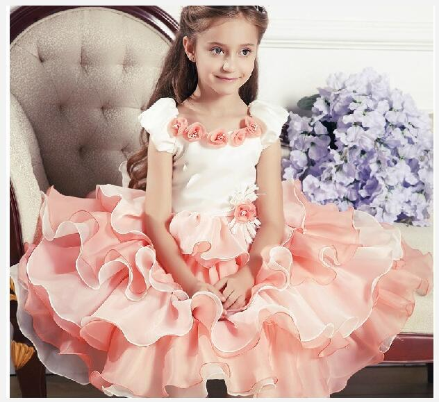 Girls princess Layered Dress Flowers Toddler Girl Birthday wedding party frocks vestidos infantil costumes For 2 4 6 8 10 Years