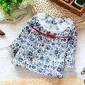 Новый 2015 весна осень детской одежды девушки блузки с длинным рукавом рубашка младенца прекрасный печать рубашки топ детская одежда