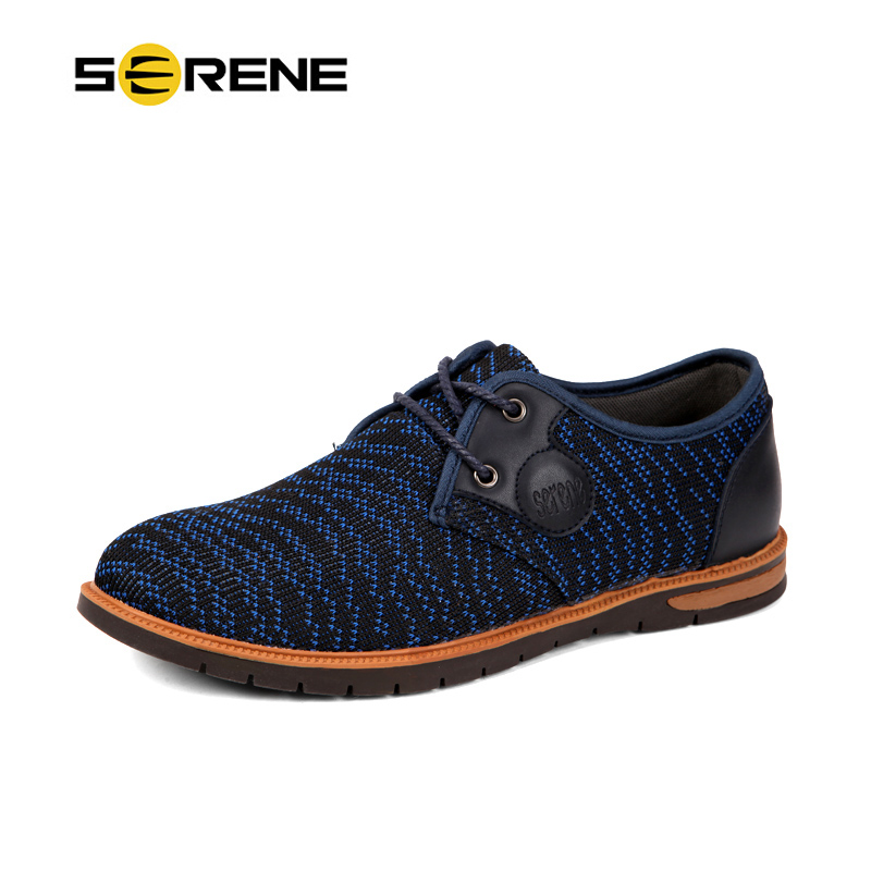 SERENE Mens Casual Shoes Mesh+Leather Stitching Men Lace-up Shoes 2018 New Summer Stylish Chaussure Homme 6293 2017 new chaussure homme mens shoes casual leather vulcanize hip hop white men platform summer hot sale breathable black shoes
