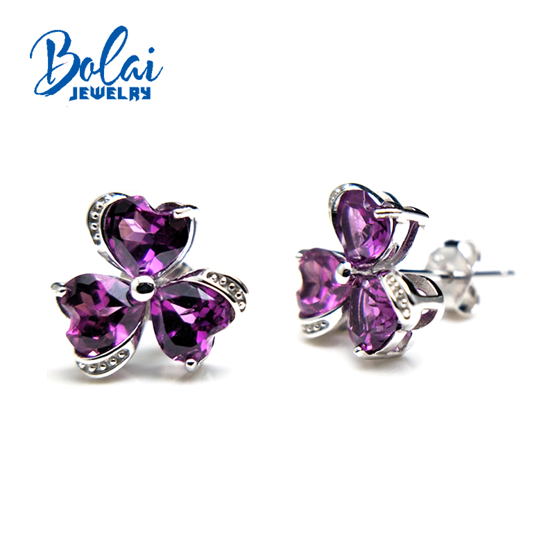 Bolaijewelry,Heart shaped flowers form natural rhodolite gemstone clasp earring 925 sterling silver fine jewelry women