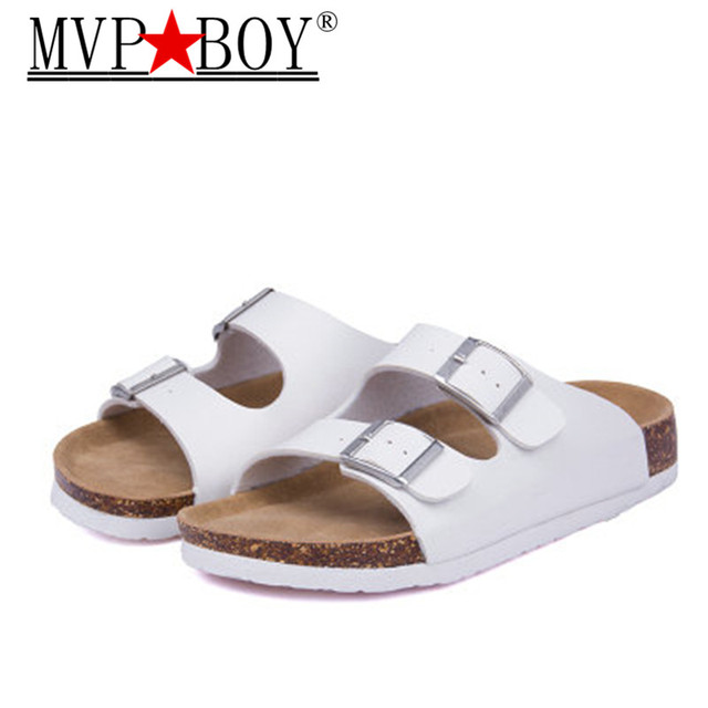 MVP BOY 2018 New Summer Beach Valentine Cork Slippers Sandals Casual Double  Buckle Clogs Slippers Women Flip Flops Shoe Free 042f028ffa6e