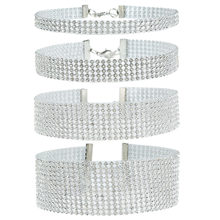 3 5 6 11 Rows Clear Diamante Rhinestone Bridal Multilayer Choker Necklace Wedding Fashion Jewelry For Women Gift(China)