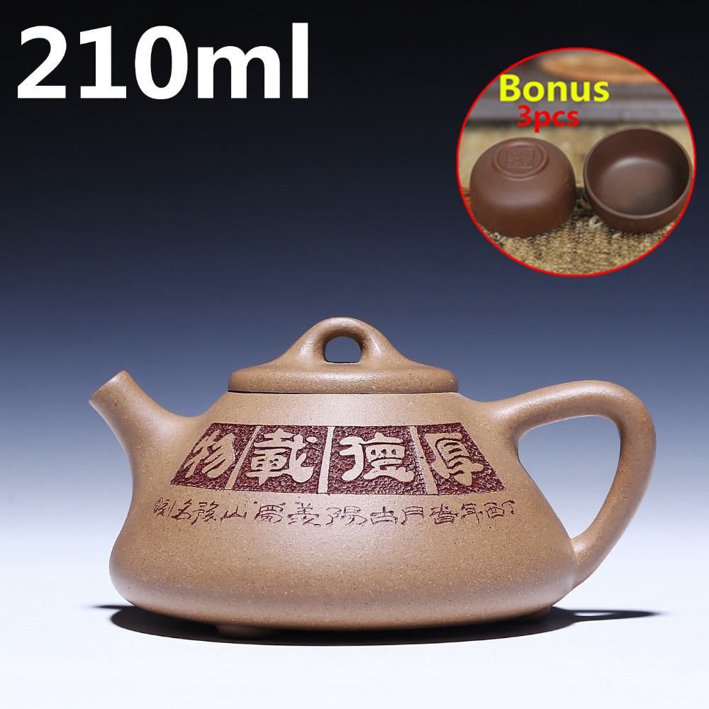 Chinese Tea Pots 210ml Ceramic Tea Set Oriental Handmade Teapots China Tea Ceremony Yixing Zisha Clay Teapot Kettle Bonus 3 Cups