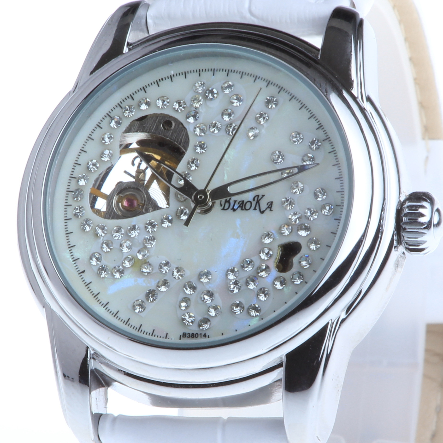 2016 New Arrival Luxury Brand BIAOKA women watches skeleton mechanical watch white leather ladies casual clock
