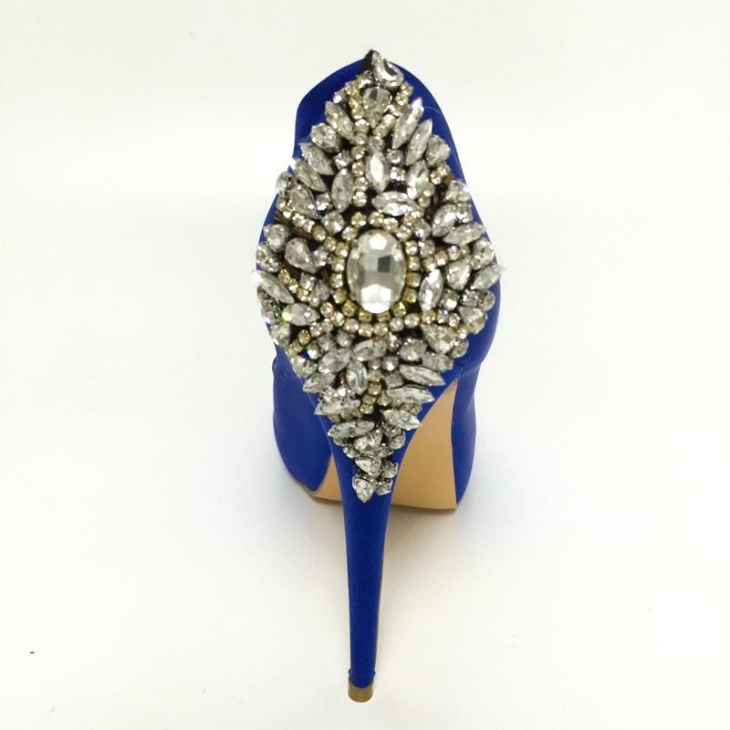 Royal Blue Satin Wedding Pump Shoes Rhinestones Peep Toe High Heels Platform Bridal Shoes Stilettos Slip-on Shoes Women Crystals