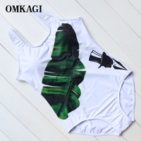 OMKAGI 2017 New Print One Piece Swimsuits Solid White U Backless Swimwear Women Monokini Swimsuits Summer