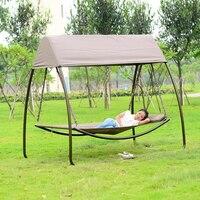 Патио Досуг роскошные прочный железный садовые качели стул открытый гамак спальная кровать с марлей и навес