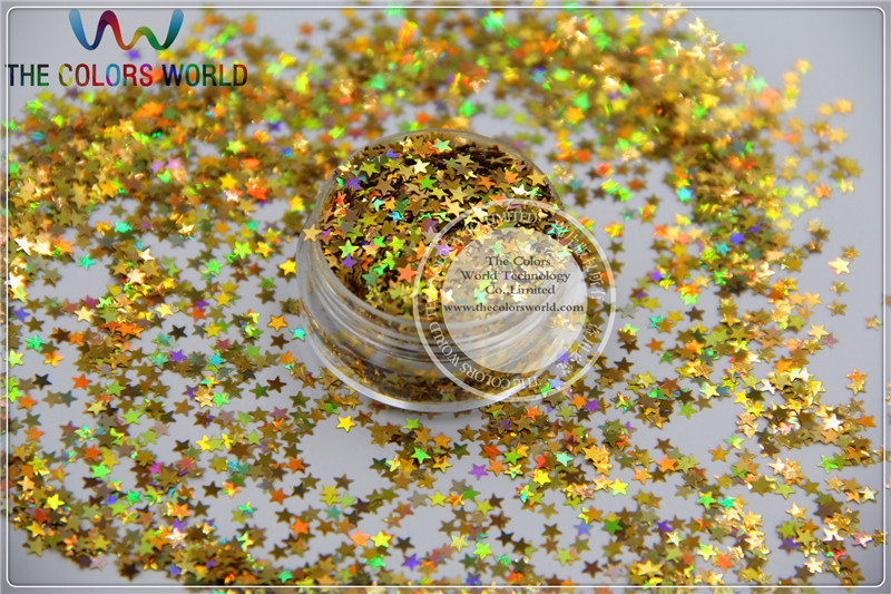 LM-2 Size 3 Mm Laser Holographic Gold Color Glitter Paillette Stars Shape Spangles For Nail Art  And DIY Supplies1pack=50g