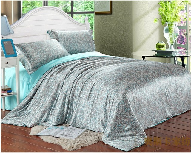 Aqua Blue paisley luxury silk satin bedding comforter set for king queen full twin size duvet cover bedspread bed sheet bedroom