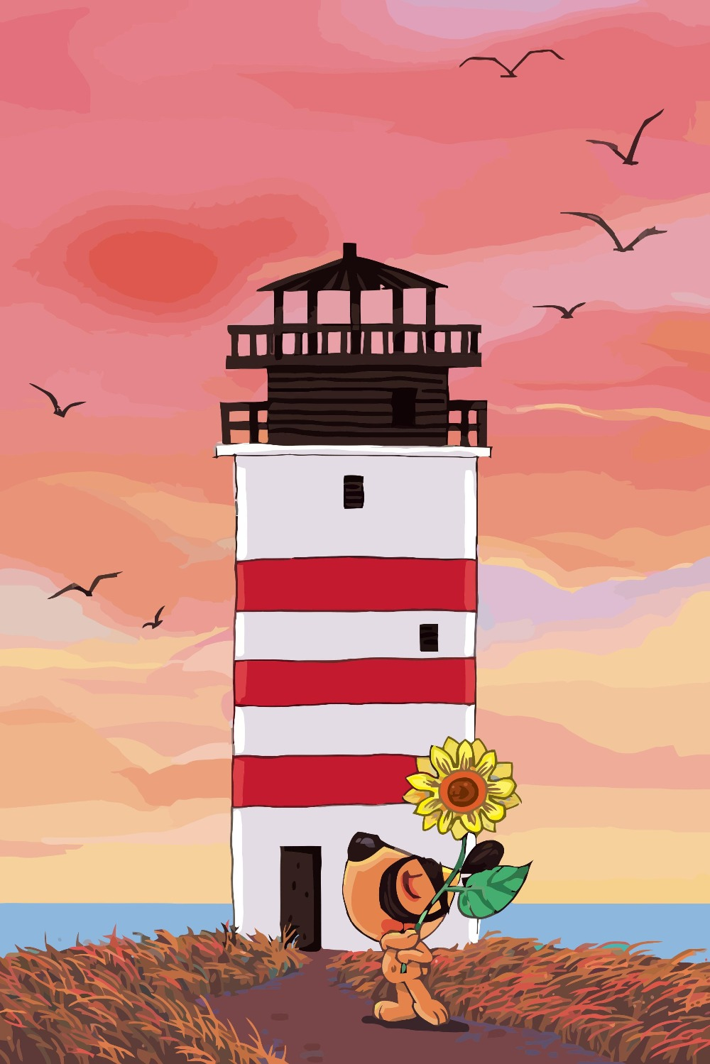 Wall Pictures for Living Room Coloring by Numbers Sea Lighthouse ...