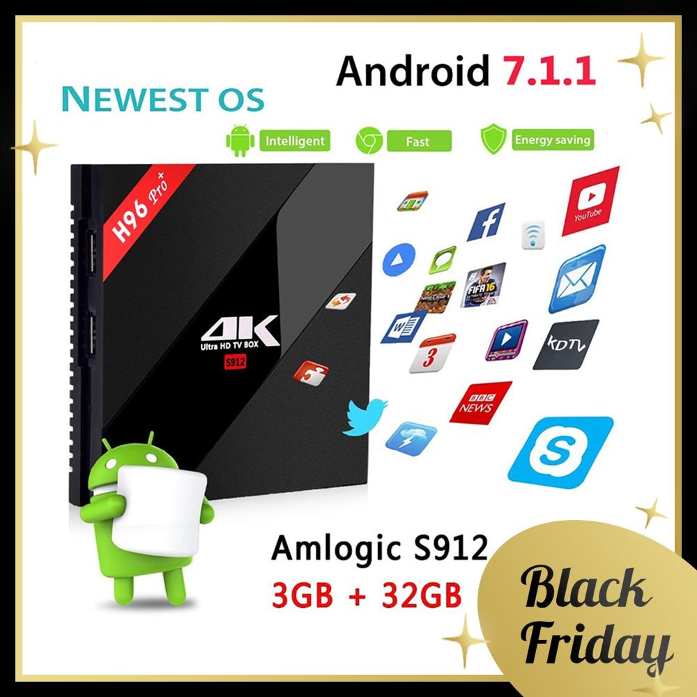 H96 PRO + Plus Smart TV Box Amlogic S912 Octa Mali-T820MP3 GPU 2g/16g 3g/ 32g Android 7.1 2,4g/5,8 ghz Wifi Bluetooth Set Top Box