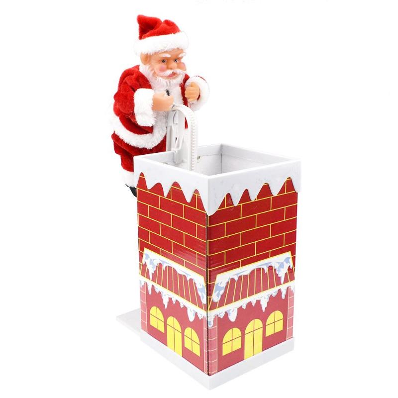 Santa Claus Climbing Chimney Doll Electric Toy With Music Children Kids Christmas Gifts New Year Gifts Decoration Ornaments Toy