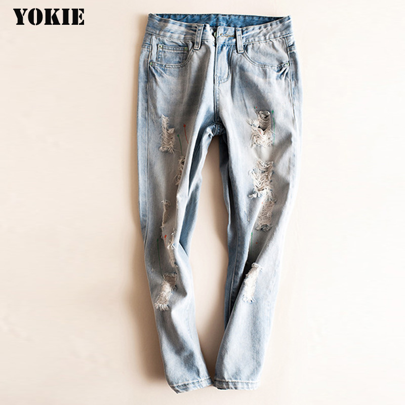 Hole Ripped Cut Out Sexy Jean Pants Women Plus Size Light Blue Denim Women Jeans 2016 New Arrival Washing Jean Boyfriend Pants