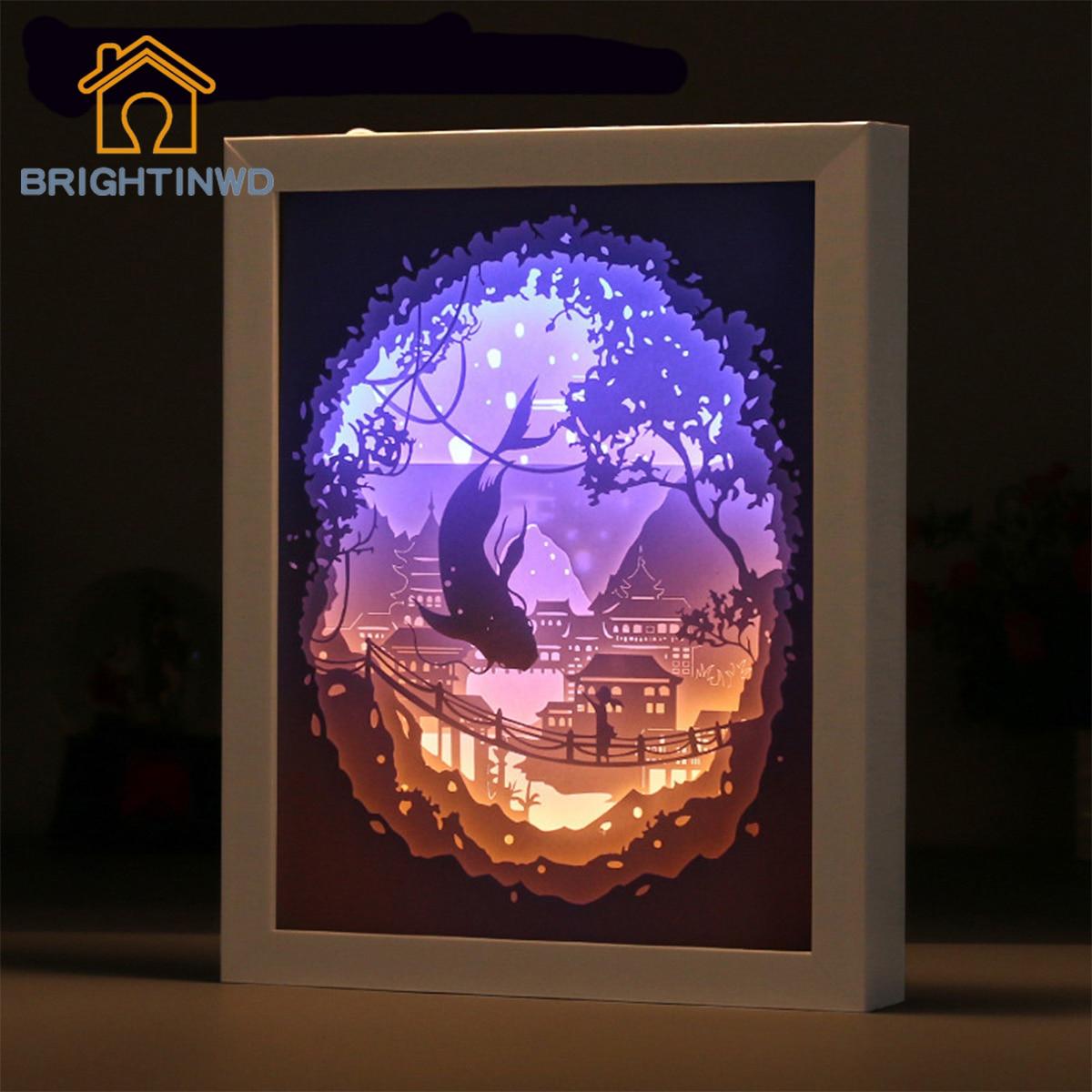 BRIGHTINWD veilleuse 3d papier lanterne gros poisson bégonia cadre papier cadre Photo veilleuses