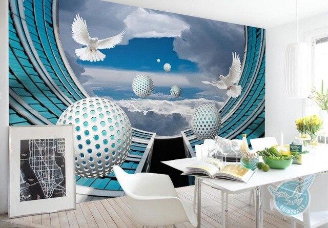 Benutzerdefinierte 3d Wandbild Tapete Weiße Kugel Gebäude 3d Tapeten Für  Wohnzimmer Luxus Tapete Vlies öl Malerei
