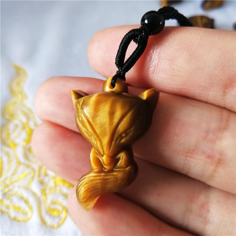 Freies verschiffen Kristall anhänger natürliche gelbe tigerauge stein kleine fuchs anhänger umgeschlagen für geschenk freies verschiffen