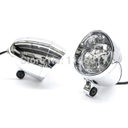 2x Motorcycle Chrome Passing Fog Headlight For Harley Custom New
