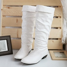 Autumn and winter women boots High-leg motorcycle snow Black White Brown 3 color shoes wholesale Free shipping