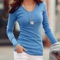 Новых женщин Способа майка Стретч повседневная О Шеи футболка с длинным рукавом женщины топы camisetas 4 цветов