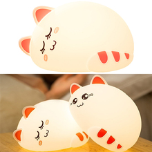 Premium 7 Colors Cat LED USB Children Animal Night Light Silicone Soft Cartoon Baby Nursery Lamp Breathing