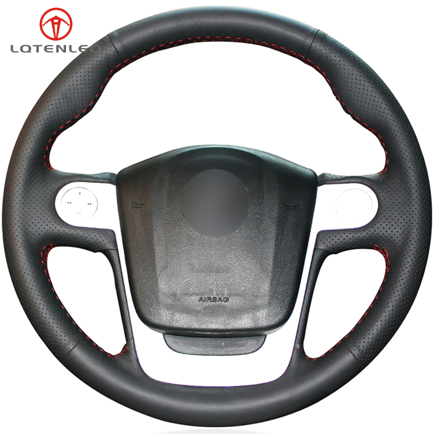 LQTENLEO DIY Hand stitched Black Genuine Leather Car Steering Wheel Cover For MG MG3 MG 3