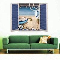 قارب المحيط شاطئ 3d وهمية ويندوز ملصقات الحائط غرفة المعيشة الشارات البحر المشهد جدارية الفن ملصقات الديكور diy المنزل