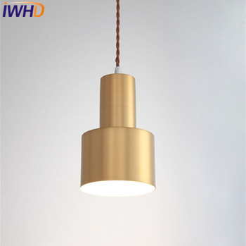 IWHD Nordic Post Modern Pendant Lights Retro Loft LED Pendant Lamp Copper Hanglamp Bar Cafe Home Lighting Suspension Luminaire