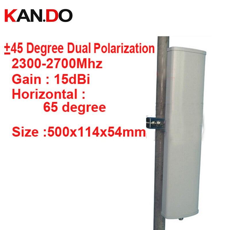 15dbi double polarisation + 45 &-45 degrés 2300-2700 Mhz antenne de signal de téléphone station de Base 4G booster antenne de base