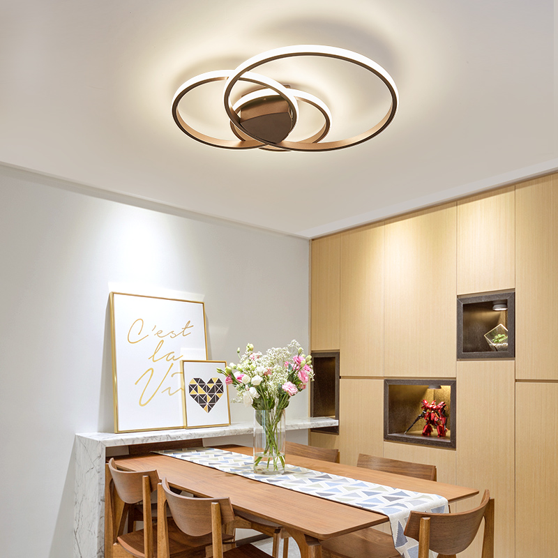 Creative circl Modern Bedroom led ceiling Lights White/brown frame Modern Ceiling Lamp Fixtures plafonnier luminaria de teto цена 2017