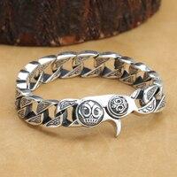Новинка! Винтаж серебра 925 человек браслет тайский серебряный браслет ссылку Pure Silver PUNK Ювелирные изделия человек браслет
