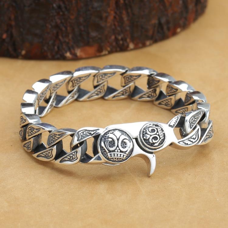 купить New! Vintage 925 Silver Man Bracelet Thai Silver Link Bracelet Pure Silver PUNK Jewelry Man Bracelet онлайн