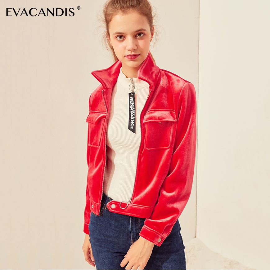 Pardessus Streetwear rouge Automne Courte Cru Manteau Femmes De Noir Noir Fermeture Coréen Veste 2018 Rouge Velvet Outwear Bomber Éclair Mode vawrvPqH