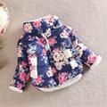 Infantil Con Forro de la Chaqueta de la Capa Niños Del Otoño Del Resorte de Terciopelo Estampado De Flores Espesar Outwear Navidad Niña Abrigos de Algodón de Abrigo